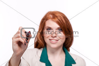 attractive smiling business woman writing with pen isolated