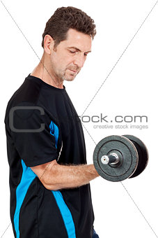 adult attractive man with iron dumbbell isolated