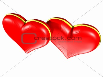 Two Red hearts with gold edging