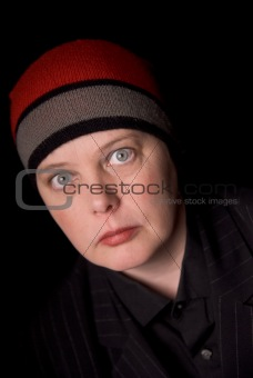 Woman in knit hat