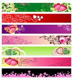 love &amp; hearts website banners / vector / set #1