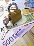 padlock and dollar, euro