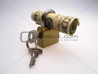 padlock and dollar
