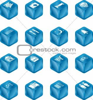 Tourist Locations Cube Icon Set