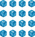 Network Computing Cube Icons Series Set. 