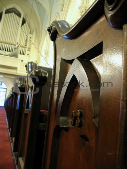 Church organ and pew