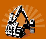 Digger with sunburst in the background
