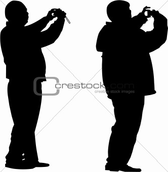 vector image of two tourists  photographer