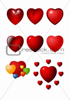 Valentine heart vector icon set