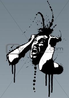 Grunge mad nervous man screaming