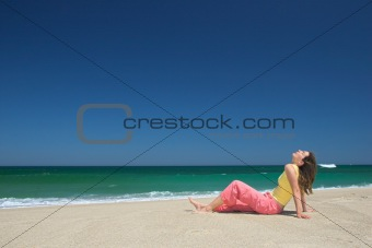 Beautiful young woman relax in the beach