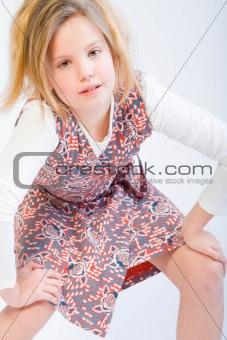 Blond child posing fashion