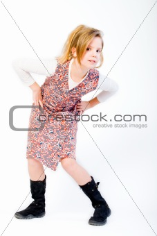 Blond child posing fashion style