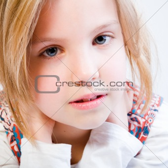 Close up portrait of a blond child