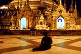 praying woman in shwedagon temple, Myanmar