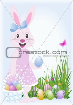 Pink female easter bunny