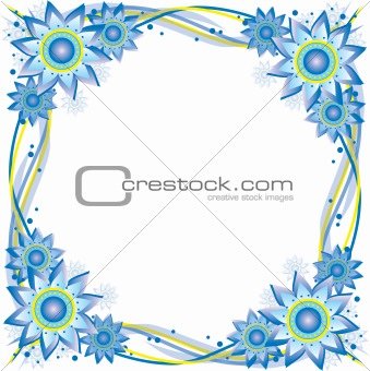 Blue & Yellow Flower Frame