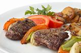 grilled kebab with vegetables