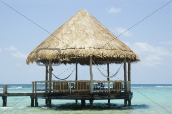 Beach gazebo on the ocean in the Caribbean
