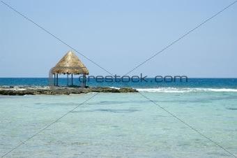 Beach gazebo on the ocean in the Caribbean