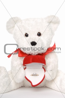 Bear Holding Engagement Ring