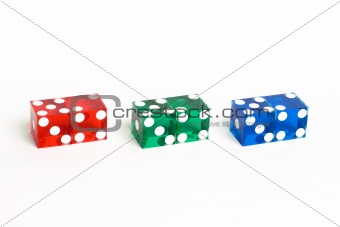 Casino Dice with Lucky Sevens showing