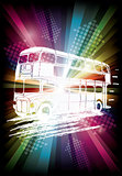 london bus on rainbow background