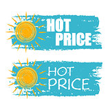 hot price with yellow sun sign, blue drawn labels