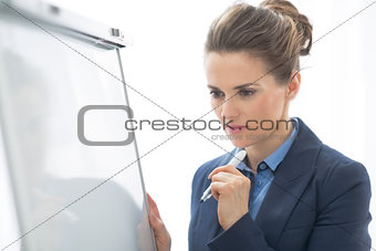 Portrait of thoughtful business woman near flipchart