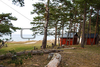Coast view with fishermens old cabins.