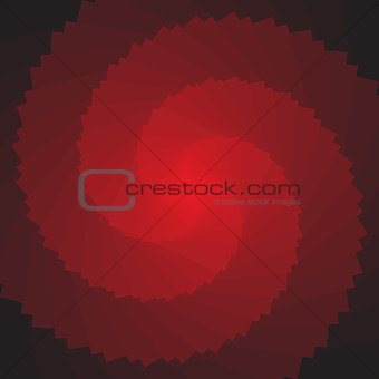 Abstract red 3D rotation shape. No gradient.