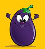 Cartoon happy purple eggplant gesturing happily in a yellow back