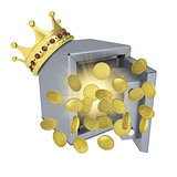 Gold crown, safe and coins