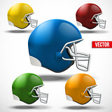 Set of Realistic American football helmet. Side view.