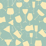 Grunge Retro  Seamless background pattern of retro alcoholic gla