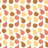 Grunge Retro Vector seamless pattern of fruit - apple and pear
