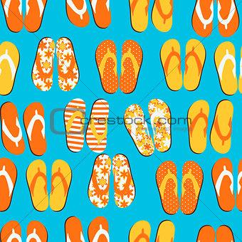 Beach Seamless Retro Grunge Background witj Flip Flops