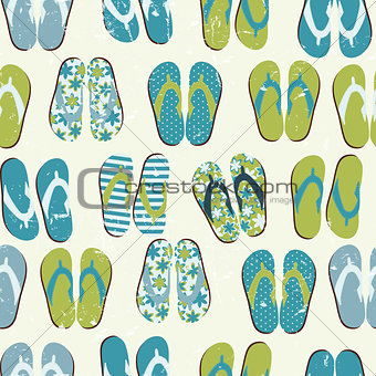 Beach Seamless Retro Grunge Background witj Flip Flops