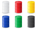 colour metallic barrels vector illustration