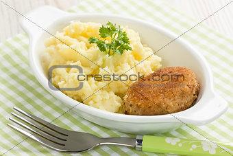 Mashed potato and fishcake