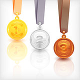 Sports Medal Awards. Vector Illustration.