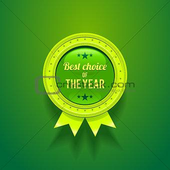 Green Vector Glossy Badge