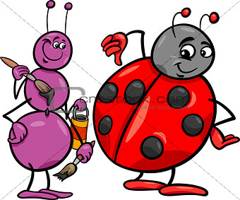 ant and ladybug cartoon illustration