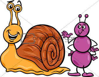 ant and snail cartoon illustration