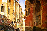 Beautiful water street - Venice, Italy. Photo in old color image