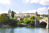 Vitava river and St. Vitus Cathedral in Prague