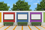 Blank street billboard oncolorful brick wall