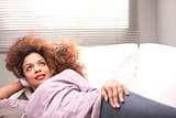 beautiful afroamerican woman on a sofa