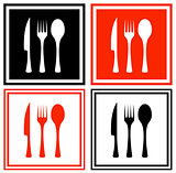set icons with kitchen ware