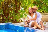 Happy couple on romantic resort